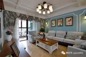 120㎡现代美式田园风格家居装修设计 蓝色墙面让家显得非常清新自然
